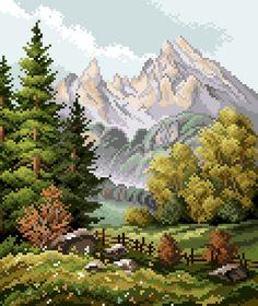 Berglandschaft Beaded Embroidery, Cross Stitch Embroidery, Cross Stitch Patterns, Beautiful Drawings, Beading Patterns, Scenery, Mountains, Landscape, Artwork