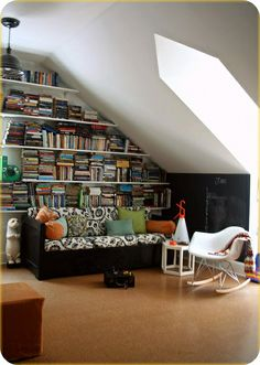 sweet attic space with more ideas for library function