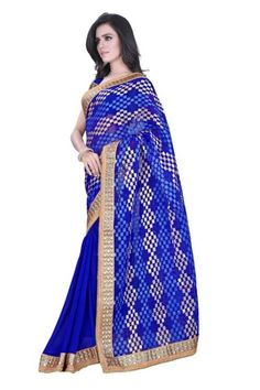 Blue ‪Sarees‬ @ 1320. Half Half Print Sarees With Heavy Border