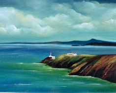 Spectacular Seascapes off the Coast of Ireland: The Wild Atlantic Way - Vast, rugged, untamed shores! This is where land and sea collide and the undulating waves beat a rhythm to the shore. Lighthouse, Ireland, Waves, Oil, Fine Art, Board, Painting, Outdoor, Bell Rock Lighthouse