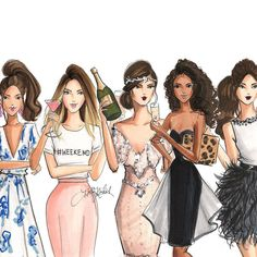 The girl code: 7 rules every lady should swear by (part Best Friend Drawings, Bff Drawings, Fashion Design Drawings, Fashion Sketches, Drawing Fashion, Fashion Illustrations, Art And Illustration, Friends Illustration, Fashion Week