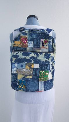 1240e03a09e9 Denim Corduroy & Indian vintage trim lace tie dye denim boho One of a Kind  Backpack with zippers custom patches