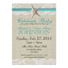 Starfish and Lace Baby Shower Custom Invitations