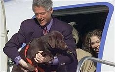 The Clintons' chocolate-colored Labrador Retriever joined the first couple turned empty nesters shortly after daughter Chelsea left for Stanford in 1997. Though family cat Socks hated the pup (to the point that the pets had to be kept in separate quarters), President Clinton and Buddy bonded quickly.