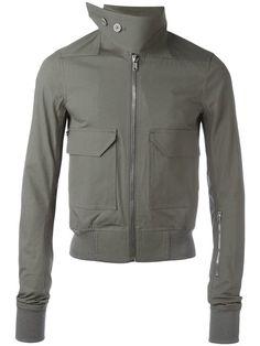 Shop Rick Owens buttoned funnel neck bomber jacket.
