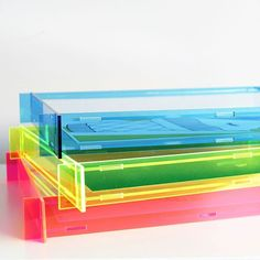 Neon / Colours / Bright colours / Acrylic Frames / Perspex Frames   Single frame or a stack of frames. These will pop anywhere in your room.  #leckystudio #leckyshop