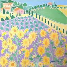 Sunflowers and Olives, Italy. Girasoli e Olive, Panicale. Original Painting by Joanne Short John Dyer, Sunflower Fields, Olives, Sunflowers, Painting Inspiration, Online Art, Original Paintings, Art Gallery
