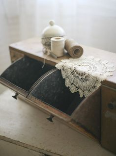 four bin mercantile cabinet by sadieolive on Etsy, $295.00    Pricey.....but I like it!  :)