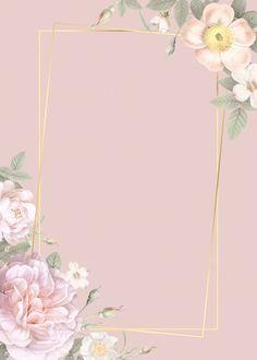 Hand drawn floral rectangle gold frame card mockup vector premium image by NingZk V manotang Framed Wallpaper, Flower Background Wallpaper, Flower Backgrounds, Frame Background, Pink Floral Background, Floral Wallpaper Iphone, Invitation Background, Flower Invitation, Molduras Vintage