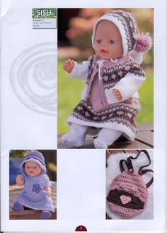 Album Archive - Dukketøj til Baby Born 2 - Ingelise Knitted Doll Patterns, Knitted Dolls, Baby Knitting Patterns, Crochet Dolls, Knitted Hats, Reborn Dolls, Ag Dolls, Girl Dolls, Knitting Dolls Clothes
