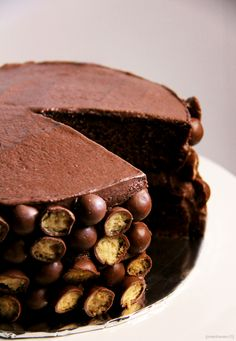 Chocolate Malteser Cake  (adapted from Valerie Barrett's Cakes Galore & Nigella Lawson's Feast)
