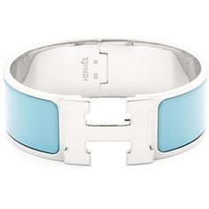 HERMÈS Blue/Silver Clic Clac Wide (179.810 HUF) ❤ liked on Polyvore featuring jewelry, vintage jewelry, silver jewellery, hermès, vintage jewellery and hermes jewelry