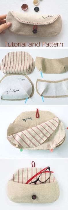 DIY Bag Glasses Case Sewing Tutorial + Pattern. How to Sew.   free-tutorial-diy.blogspot.com/2016/12/eyeglass-case-tutorial.html