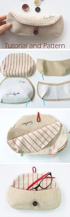 DIY Bag Glasses Case Sewing Tutorial + Pattern. How to Sew. free-tutorial-diy.blogspot.com/2016/12/eyeglass-case-tutorial.html