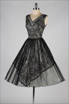 Vintage 1950s Glitter Flocked Chiffon Dress