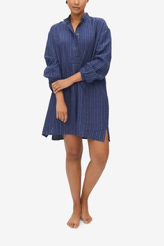 If you are looking for a nightshirt you can comfortably wear to bed, over breakfast with house guests, or when answering the door to room service, we've got you covered. This classic piece is based on a vintage men's chemise, but its modern cut makes it easy to wear, and incredibly chic. A deep indigo blue with subtle light blue and white stripes, we love this chic linen. Button Down Sleep Shirt, House Guests, Black Underwear, Black Linen, Linen Shorts, Striped Fabrics, Indigo Blue, Seersucker, Wearing Black