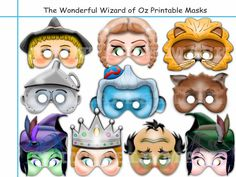 Unique The Wonderful Wizard of Oz Printable Masks+Elements,oz party,Invite,dorothy mask,tin woodman,scarecrow, monkey,lion,Glinda,prop by AmazingPartyShop on Etsy