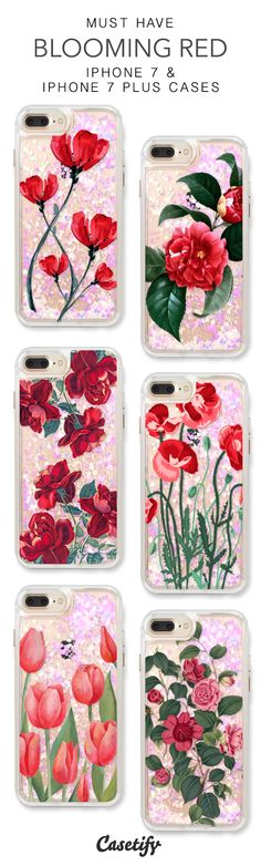 Must Have Blooming Red iPhone 7 Cases & iPhone 7 Plus Cases. More protective liquid glitter iPhone case here > https://www.casetify.com/en_US/collections/iphone-7-glitter-cases#/?vc=BCkCB7YLUm