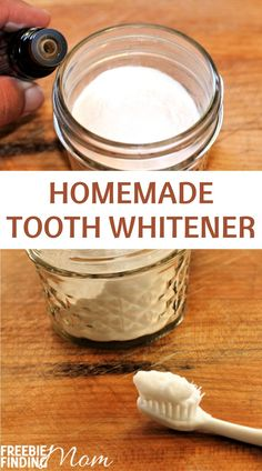 Are your teeth dull and stained? If you'd like to whiten your teeth naturally at home, then whip up this easy DIY recipe. This Homemade Tooth Whitener recipe requires only four items (baking soda, coconut oil, peppermint essential oil, and hydrogen peroxide) and a few minutes to make. Give it a try today and brighten up your pearly whites! #toothwhiteningdiy #teethwhiteningathome   #teethwhiteproducts #teethwhiteningathomebakingsoda