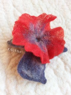 Delicate RED PETUNIA flower brooch pin of hand felted fine merino wool in red, white and gray, gentle adornment by LanAArt on Etsy