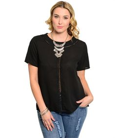 Black Sheer Jr. Plus Size Short Sleeve Shirt w/ Front Cutout Design