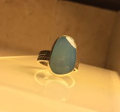 Handcrafted Chalcedony and Sterling Silver Statement Ring./Gemstone Ring. by Jewelriart on Etsy https://www.etsy.com/listing/266430180/handcrafted-chalcedony-and-sterling