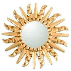 Mirror Mohena Wood Modern Carved Handmade 'Bronze Sun' NOVICA Peru for sale online Blue Wall Mirrors, Wall Mirrors For Sale, Cool Mirrors, Small Mirrors, Round Wall Mirror, Mirror Set, Industrial Wall Mirrors, Handmade Mirrors, Diy Home