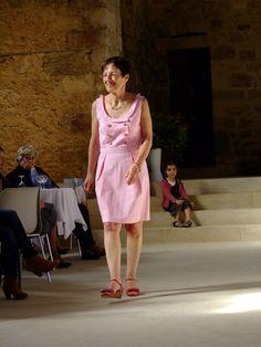 Robe Marlène coton seersucker, rayures rose framboise et blanc