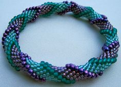 Bead Crochet Pattern  Four Color Continuous by WearableArtEmporium, $ 7.50