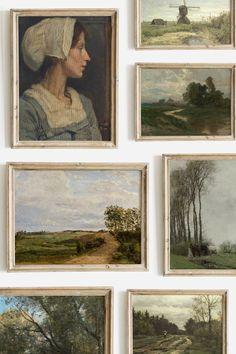 Art Vintage, Vintage Paintings, Vintage Artwork, Vintage Stuff, Vintage Frames, Art Hoe, Wall Decor, Wall Art, Room Decor