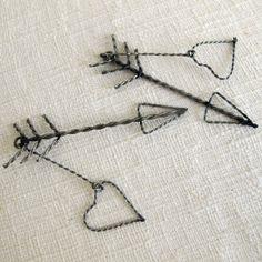 Gift wrap ideas, Jewelry pendant, Set of 2, Heart & Arrow - $6.50