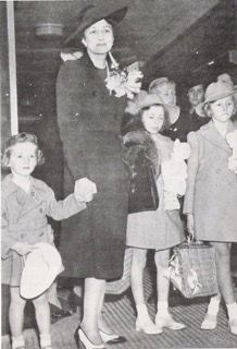 Crown Princess Martha of Norway with her three children reportedly arriving in New York City in 1940 to live in the United States during WWII.