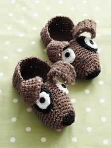 Pound Puppy Crochet Slippers - free pattern - too cute!