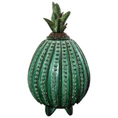 View this item and discover similar for sale at - Green pottery pineapple handcrafted in Morelia, Mexico with removable top. Mexican Ceramics, Hacienda Style, Mexican Designs, Southwestern Decorating, Arte Popular, Mexican Art, Modern Ceramics, Handmade Pottery, Ceramic Pottery