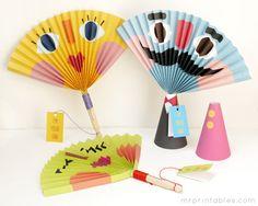 Paper fan for kids - Abanico de papel para niños