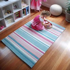 Stunning pink and aqua striped girls rug.  Pretty pastel stripes in lovely shades of pink and aqua.