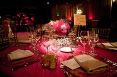 Swanky dim event lighting in pinks and purples