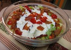 Layered BLT Salad. Made this for our family game/Pinterest night. Yummy!!