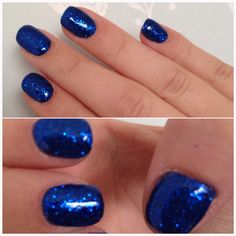 Blue glitter calgel overlays