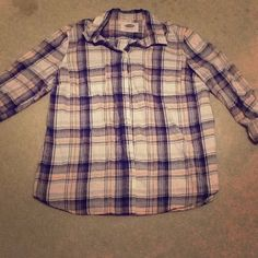 Light pink flannel NWOT Pink, navy, and white flannel, never worn Tops Button Down Shirts