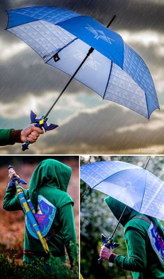 Instantly recognizable, this Master Sword umbrella is perfect for when someone forgets the Sun Song and plays the Song of Storms instead. The Legend Of Zelda, Legend Of Zelda Breath, Yiga Clan, Zelda Master Sword, Mundo Nerd, Link Cosplay, Link Zelda, Breath Of The Wild, Masters