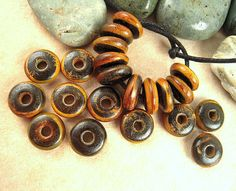 100 Horn Beads 8mm Disk Rondele Burnt Brown Horn by EthnicBeadShop, $5.25