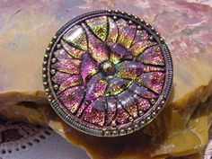 Fuchsia Fire Art Deco Lilies Czech Glass Button