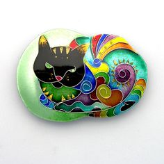 9 lives by Zenamels<3<3<3AWESOME PIECE OF ENAMEL JEWELLERY-ART 'CAT' BROOCH OR PIN(?) W' THE MOST GORGEOUS VIBRANT COLOURS<3<3<3