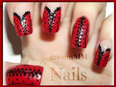 Red and black Corset nails