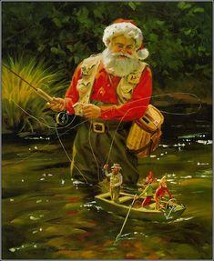 Santa fishing by Tom Browning
