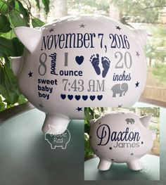 Personalized Piggy Bank, Elephant Theme Baby Boy Piggy Bank,Baby Birth Stats Gift,  Baby Boy Gift, Piggy Bank,  New Baby Gift, Baby Bank by BubbieRed on Etsy