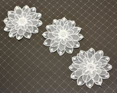 6 Flower Lace Organza Appliques in White