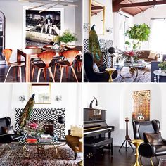 Beautiful thrown-together interior inspiration at the home of guitarist Joe Trohman. Eclectic, cozy and well balanced.#cr @mydomaine designed by @consortdesign  #inspirasjon #inspiration #interior #interiør #design #design123 #eclectic #livinglikearockstar