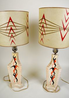 Pair of 1950's Plaster Lamps with Shades by MoreUpstairsVintage, $350.00